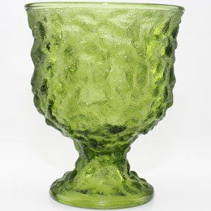 VINTAGE E O Brody Co Green Crinkle Glass Compote